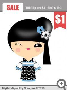 kokeshi doll clipart