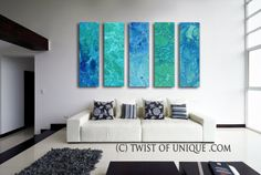 SeaGlass Abstract Painting  5 panel CUSTOM  by TwistOfUnique, $711.00