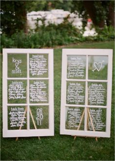 You could also use window frames as place cards, menus, programs, etc. in order to save money!