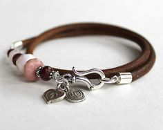 Artisan wrap bracelet - ruby, pink opal, sterling silver and leather bangle multistrand bracelet