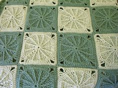 Oh, is this beautiful or what? Crochet Afghan Blanket Sage Green Granny Square by LittlestSister