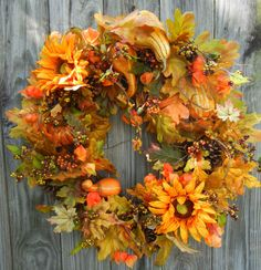 Fall Wreath  Wreath For The Door  Bitttersweet  by forevermore1