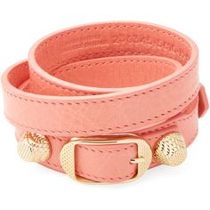 Balenciaga Women's Classic Buckle Leather Wrap Bracelet - Pink, Size M (€185) ❤ liked on Polyvore featuring jewelry, bracelets, accessories, pink, buckle bangle, leather jewelry, leather bangles, balenciaga and leather wrap bracelet