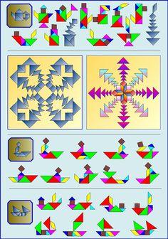 Puzzelen met ronde en vierkante tangrams - Vierkante tangram - Pagina KV4