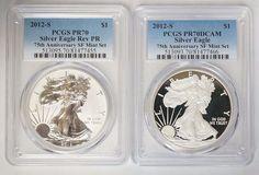 2012 s Silver Eagle 75th Ann SF Mint Set PCGS PR70DCAM Reverse Proof PR70 | eBay