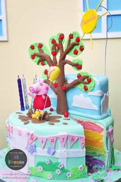 Peppa Pig birthday party via Bolo Da Peppa Pig, Cumple Peppa Pig, Peppa Pig Birthday Cake, Peppa Pig Cakes, Third Birthday, 3rd Birthday Parties, Birthday Fun, Birthday Ideas, Peppa Pig House