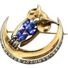 1940s Marcel BOUCHER MB Phrygian Cap Sterling OWL in the Moon Fx Sapphire Rhinestone Brooch Pin