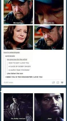 How to say I love you like Dean Winchester and Bobby Singer.