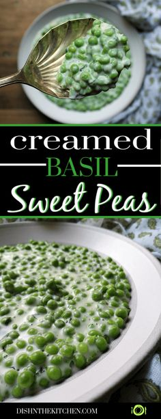 Creamed Peas with Basil is a classic side dish that celebrates the sweet peas of summer. The basil really amplifies the sweet taste of fresh peas while the cream sauce ties it all together into one comforting dish. Best Side Dishes, Healthy Side Dishes, Vegetable Sides, Vegetable Side Dishes, Vegetarian Side Dishes, Veg Dishes, Side Dish Recipes, Vegetable Recipes, Vegetarian Recipes