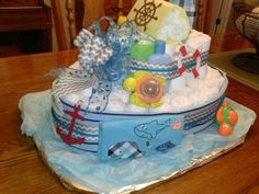 Tug  boat diaper cake