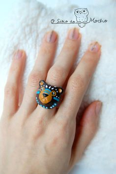 Bear ring Brown blue and white Etnic style by OSitiodoMocho