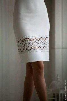 This is a great way to add some extra 'style' to an existing dress or skirt. This would also be a great idea on the sleeves of a jacket! Skirt Outfits, Dress Skirt, Fashion Details, Fashion Design, Mode Inspiration, Dress Patterns, Beautiful Outfits, Designer Dresses, Fashion Dresses