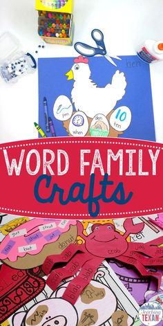 Do you teach word families?  This word family craft pack includes the perfect activities for practice during centers and whole group reading!  Simply print class sets or cut out stencils and you are ready to teach.  These are perfect for Kindergarten and some First Grade classrooms!
