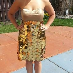 Express Gold Strapless Dress Sweetheart Neckline Above the knee length Gold/shiny sequence/petals around the whole bodice and bottom Express Dresses Strapless