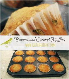 Banana and Coconut Muffins Ingredients: 1 ½ cups self-raising flour  (I replaced with all purpose and 3 tsp of baking powder) 1 cup desiccated coconut  1 cup sugar  1 cup mashed banana  1 cup coconut milk  1 egg  1 teaspoon vanilla essence 1/4 ish cups of flax meal Bake 325 for 15 min