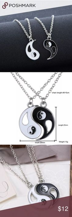 2pcs Yin yang fashion men women necklace silver 2Pcs Yin Yang BFF Pendant Necklace Black/White Couple Sister Friendship Jewelry  BRAND NEW  Couple,sister,brother,friendship Perfect Gift,classical and personalized yin yang style Good gifts for your family friends High quality and 100% New Include: 2 Pcs 50cm yin yang necklace and pendant Jewelry Necklaces