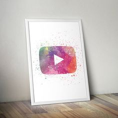 YouTube Inspired Poster Print - Play Button | Digital Download | Printable | Wall Art | Watercolour | Minimalist | YouTube Logo