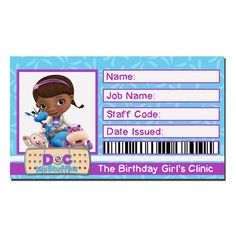 Instant Download Doc McStuffins birthday id badge by ChaliceTee