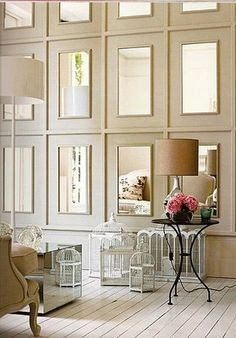 mirror molding wall for dining room Interior Exterior, Home Interior, Interior Decorating, Stylish Interior, Decorating Ideas, Decorating Tall Walls, High Ceiling Decorating, Interior Mirrors, Bathroom Interior