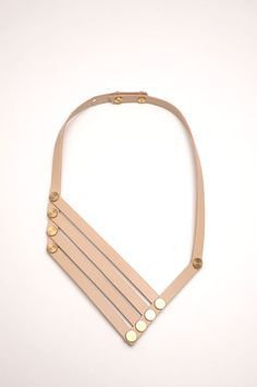 Aumorfia | LINEAR_A | VN_necklace | nude beige leather & goldish brass