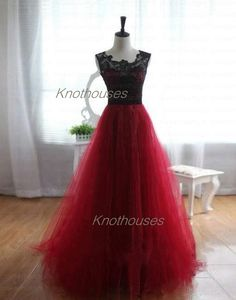 Tank Black Lace Bodice With Red Tulle A-line Prom Dress/Dance dress   This dress can be custom made, both size and color can be custom made. Custom size and color made will charge for no extra. If you need a custom dress, please send us messages for your detail requirements.  For custom size...