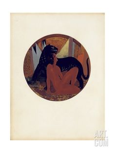 Mowgli and Bagheera, Illustration from 'The Jungle Book' by Rudyard Kipling, Coloured by Jean… Giclee Print by Francois-Louis Schmied at Art.com