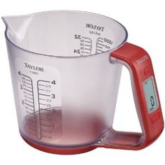 Measuring cup and digital scale- great for recipes that measure by mass as well as volume