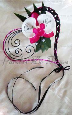 Porte alliances coeur corset orchidée impression de vos prénoms sur les pétales…