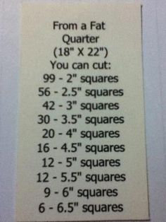 fat squares for quilting | Here's another handy chart thanks to Pinterest. What did I do before ...
