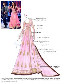 DIY Pink Georgette Long Choli Lehenga