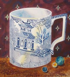 """Willow Pattern Cup"" by Emily Sutton from the ""Victorian Crockery"" series (watercolour)"