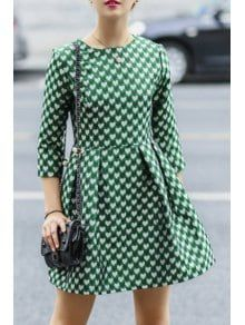 27d9fcf2f7365 3/4 Sleeve Full Heart Pattern Dress - Green S Pattern Dress, Dress Patterns
