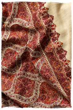 The Mogul Majesty - Grand Pashmina Shawl Textile Fabrics, Textile Patterns, Embroidery Works, Embroidery Designs, Embroidery Suits, Paisley Pattern, Paisley Print, Kashmiri Shawls, Kashmiri Suits