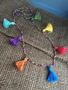 Multi-color tassel necklace by SimpleDesignsbyBecca on Etsy