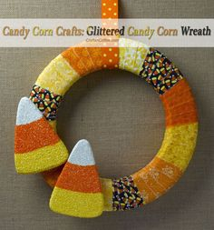 DIY Glittered Candy Corn Wreath. Totally #NonScaryHalloween. Easy DIY on CraftsnCoffee.com.