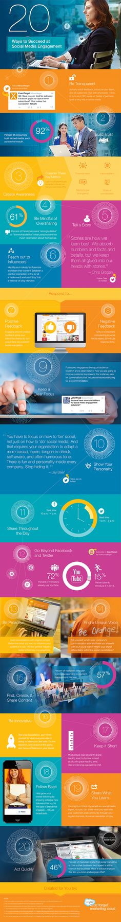 20 Ways to Succeed at #SocialMedia Engagement - #Infographic #SMM
