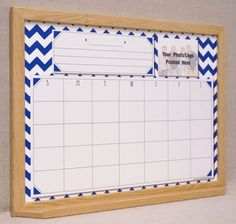 navywhite chevron dry erase calendar board by tailor made whiteboards