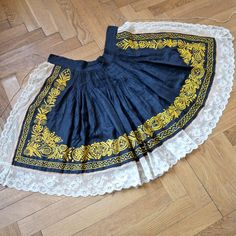 Czech Apron Moravian Hand Embroidered Folk Costume Apron Dark Blue with Yellow Flowers, Fruit