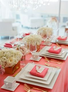 Elegant coral and gold themed reception table setting - love the square plates with the square gold centerpieces Wedding Reception, Our Wedding, Wedding Tables, Summer Wedding, Wedding Gold, Reception Table, Coral And Gold, Coral Pink, Pink White