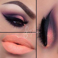 Sombras de ojos y labios pintados conbinados