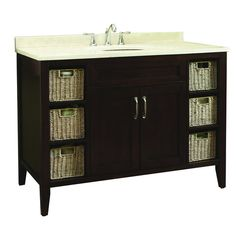 Photos Of Allen u Roth in Tan Tanglewood Bath Vanity with Marble Top and Backsplash