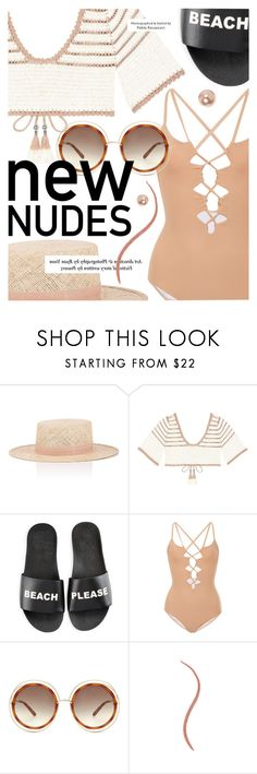 """Bare It All: Nude Swimwear"" by cultofsharon ❤ liked on Polyvore featuring Janessa Leone, SHE MADE ME, Schutz, Suboo, Chloé and claire's"