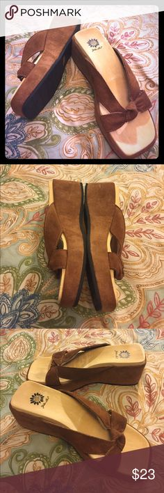 """YELLOW BOX Suede 'Sandy' Sandals (NWOB)-Size 8.5 (NWOB) Brown Suede sandals with Suede straps & 2.5"""" Suede platform/wedge. Retail at $65 Yellow Box Shoes Sandals"""