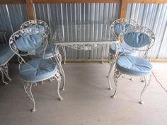 Woodard Chantilly Rose 9 Piece Wrought Iron Patio Set C