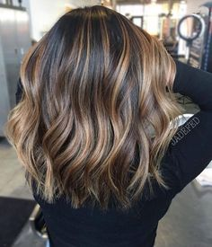 Trendy Hair Highlights : This is exact color and length I want my hair - Hair Color Hair Color Balayage, Bayalage, Haircolor, Balyage On Short Hair, Long Bob With Balayage, Balayage Hair Brunette Medium, Balayage Hair Brunette Caramel, Partial Balayage, Balyage Hair