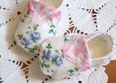vintage hankerchiefs | Baby Shoes Booties Vintage Handkerchief Tatted Lace Newborn to 3 ...