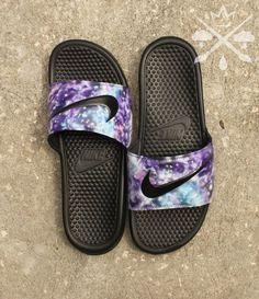 99691d44cde02c Nike Custom Galaxy Nebula Benassi Swoosh Slide Sandals Flip flops Men s