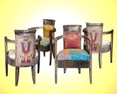 Four Art Deco armchairs from the class dining room of the SS Normandie, design by Pierre Patout circa 1934 Deco World ( Art Deco Furniture, Bedroom Furniture, Ss Normandie, Dining Suites, Art Deco Bedroom, Dining Chairs, Dining Room, Art Decor, Home Decor
