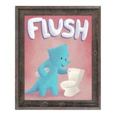 "Click Wall Art Flush Dinosaur Framed Graphic Art on Wrapped Canvas Size: 22.5"" H x 18.5"" W x 1"" D"