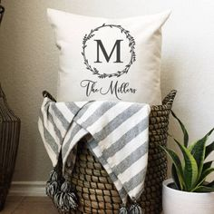Family Name Pillow Modern Rustic Homes, Modern Farmhouse, Farmhouse Decor, Farmhouse Style, Rustic Wood Signs, Rustic Decor, 6 Month Old Baby, Thing 1, Vinyl Lettering